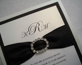 Rhinestone Wedding Invitation Suite, Black and White Wedding Invitation, Wedding Invitation, Bling Wedding, Bling Wedding Invitations