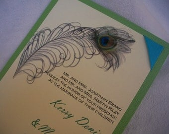 Peacock Wedding Invitation with printed Peacock Feather