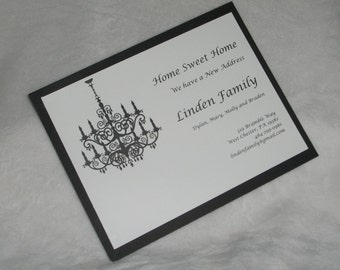 Customized Moving Announcement with Chandelier in Black and White