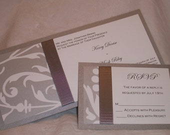 White and Platinum Damask Wedding Invitation with Platinum Satin Ribbon
