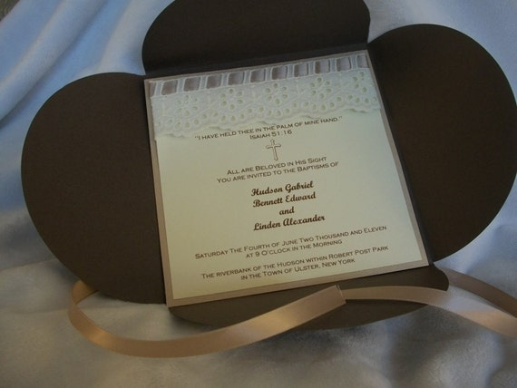 Christening or Baptism Invitation in Chocolate Brown, Gold and Ivory with Cross