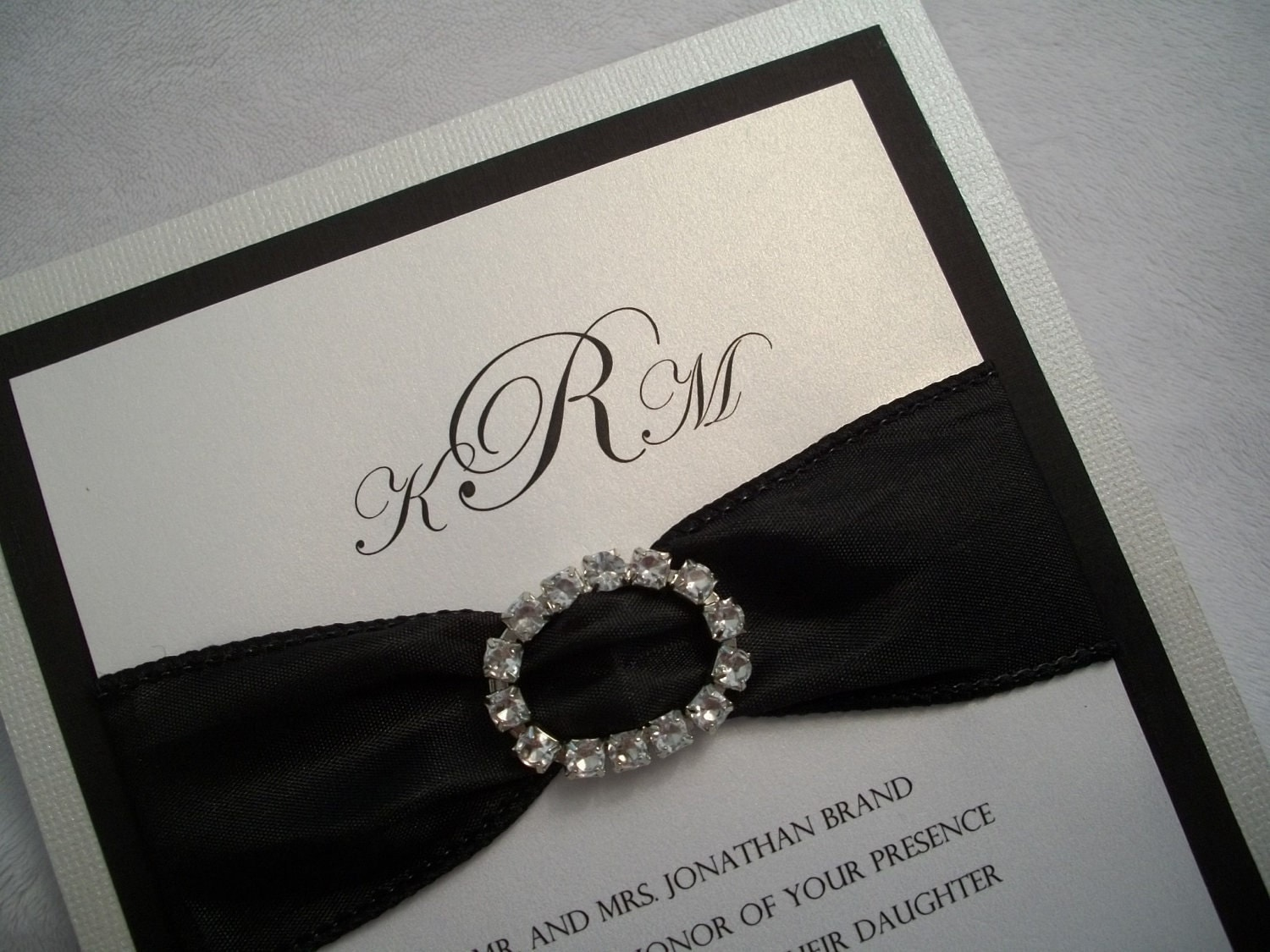 Rhinestone Wedding Invitation Suite Black And White Wedding
