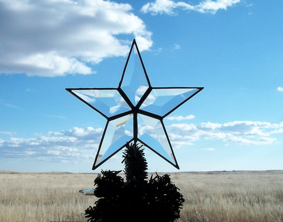 6 inch Beveled Glass Table Top Tree Topper, Classic Simple Star MADE TO ORDER