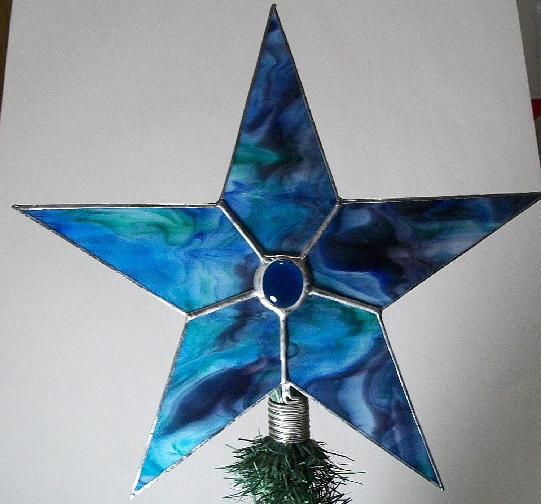 Glass Star Christmas Tree Topper Blue Tye Dye Stained Glass