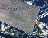Personalized minky and fleece dallas cowboys football baby blanket