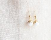 White Fruit Earrings, Czech Glass Bead Earrings, Faceted Bead Earrings