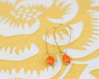 Vintage Orange Glass Cabochon Earrings, Set Stone Earrings, Bezel Earrings, Colored Stone Earrings