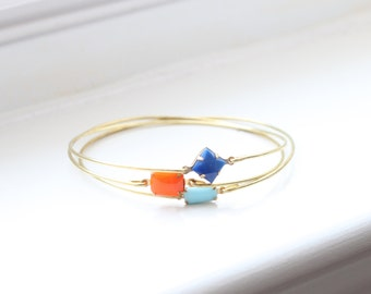 Sweet Auburn Bangle Set, Stackable Bracelet Set, Gem Stone Bangles, Stones in Settings Bracelet, Bezel Bangle