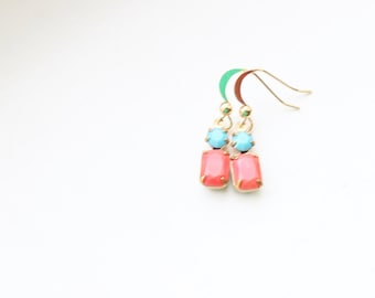 Vintage Coral and Turquoise Glass Cabochon Earrings, Set Stone Earrings, Colored Stone Earrings, Rhinestone Earrings