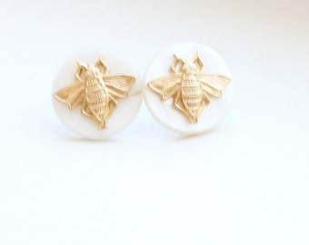 Pearl and Brass Bee Earrings, Insect Earrings, Bumblebee Earrings, Pearl Earrings, Brass Earrings, Bug Earrings