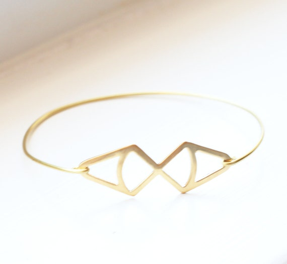 Vintage Brass Double Diamond Bangle, Stackable Bangle, Charm Bracelet, Geometric Bracelet