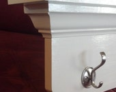 """Handmade White 48"""" Wall Shelf with Hooks-Other Finishes Available"""