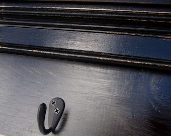 """Black Wall Shelf with Hooks -30"""""""