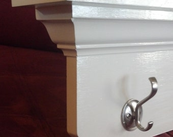 "Handmade White 48"" Wall Shelf with Hooks-Other Finishes Available"