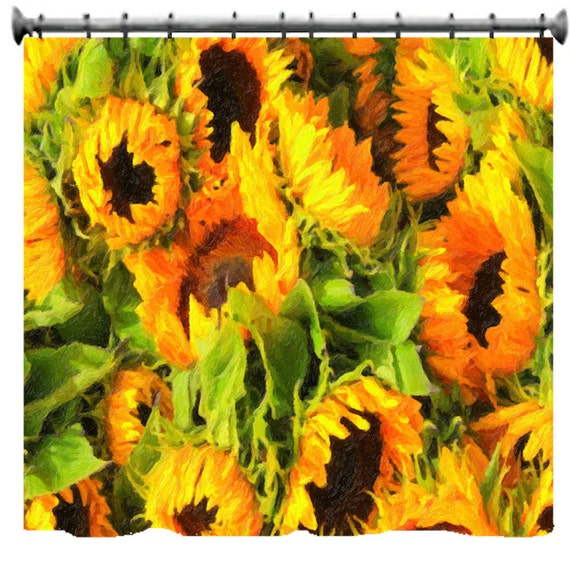 painted sunflowers shower curtain choice of sizes by. Black Bedroom Furniture Sets. Home Design Ideas