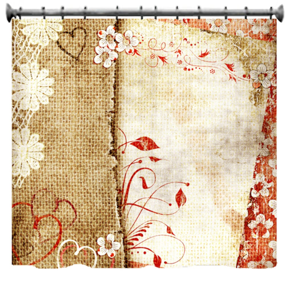 Flowers & Canvas Shower Curtain Choice of Sizes by susanakame1