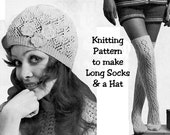 Instant Download PDF Knitting Pattern to make a Lacy Beanie Hat Juliet Cap & Long Over Knee Socks Stockings Boho All Womens Sizes