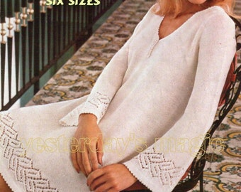 Instant Download PDF Knitting Pattern to make a Lacy Flared Long Sleeve Tunic Sweater Mini Dress in 6 Larger sizes to fit 32 to 42 inch bust