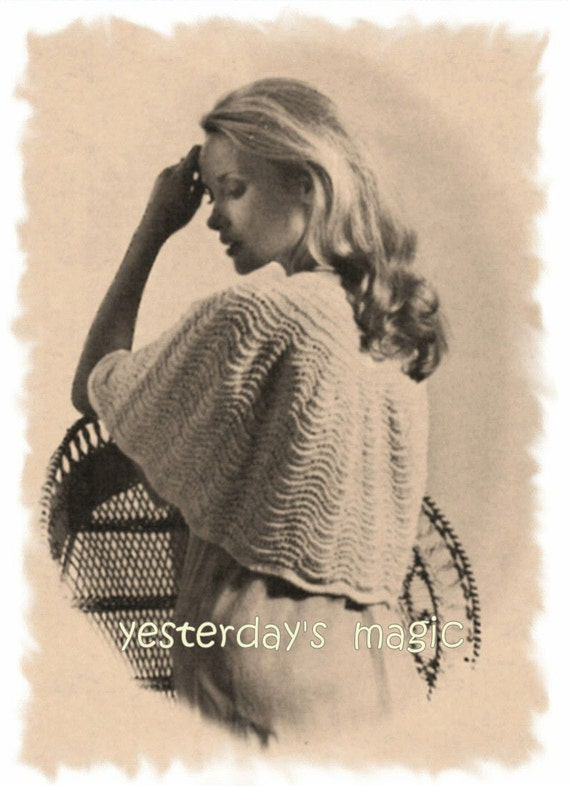 Instant Download PDF Vintage Easy KNITTING PATTERN to make a Shoulder Cape Evening Wrap Bed Jacket One Size to fit up to 38 inch Bust
