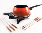 1970's Retro Redish Orange Electric Oster Fondue Pot