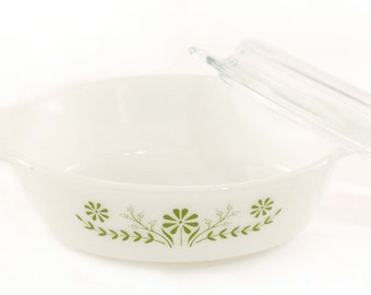 1960 Glasbake Avocado Green Daisy Dish