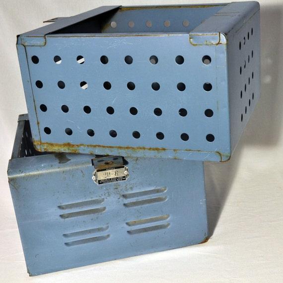 RESERVE FOR KATHY 5 Vintage Metal Blue Locker Drawer
