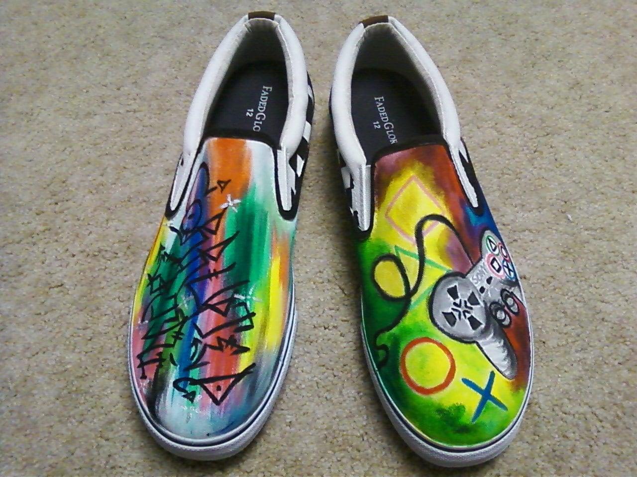 handpainted acrylic canvas shoes gamer graffiti s