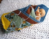Baby Doll Quilt Irish Chain Gold Green Brown Blue Sunflowers - US Shipping Included