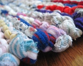 Rag Rug T Shirt Utility White Red Blue Orange Laundry Workshop Mud Room Mat Modern Cottage Rectangle 23 in by 35 in --US Shipping Included