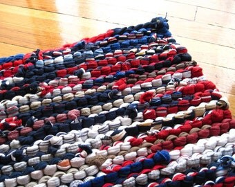 Nautical Rag Rug Utility Laundry Workshop Upcycled T Shirt Farmhouse Red White Blue Tan Rectangle 22 in by 34 in -US Shipping Included