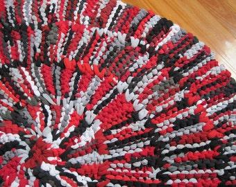 T Shirt Rug Circular Rag Rug Crimson Red Black Gray Cotton Nursery Office Modern Rustic 43 in diameter  -- US Shipping Included