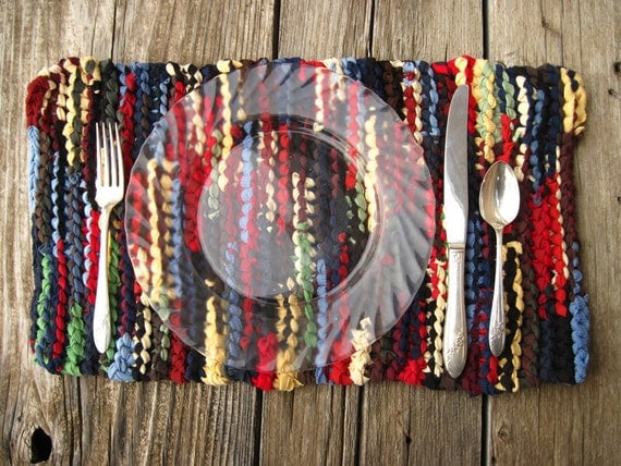 Log Cabin Placemats Knitted Upcycled T Shirts Navy Blue Green Brown Artisan  (set of 2) Rustic Country Trivets-- US Shipping Included