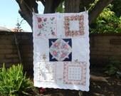 Reserved for Liz-Vintage handkerchief mini quilt- Custom Order