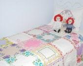 Vintage handkerchief twin quilt