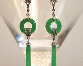 SUMMER SALE Art Deco Sterling Jade Earrings