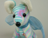 Sock-Animal, Dog-Light blue and Stripes