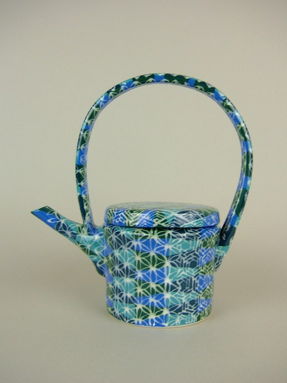 Thrown Cylinder Teapot - Hand Painted