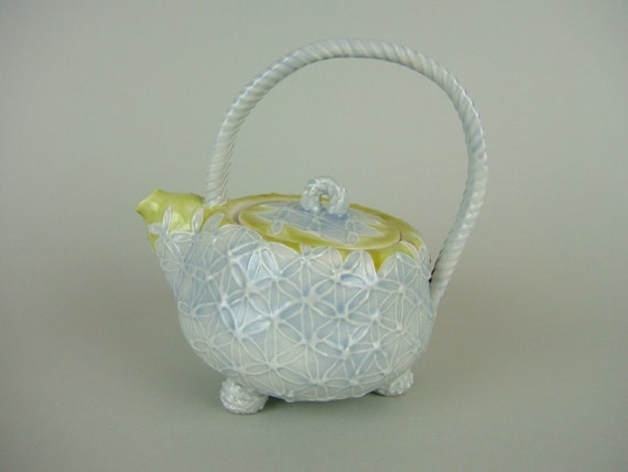 Thrown Teapot - lavender and Chartreuse
