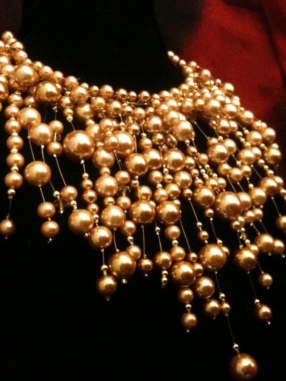 Selena Gomez 'Naturally' Custom Golden Glass Pearl Necklace- Genuine 14k Accents and Swarovski Crystal
