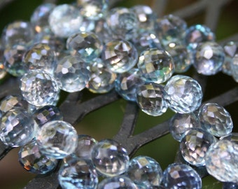 Mystic Blue Quartz faceted onion briolettes, set of 2 Denim Blue Semi Precious Gemstones