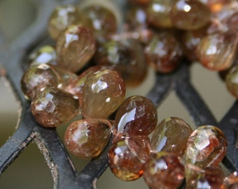 Andalusite Faceted Teardrop Briolette 1 Focal Brown Olive Sheen Semi Precious Gemstone