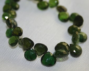 Shaded Russian Chrome Diopside Faceted Heart Briolettes 4 Green Semi Precious Gemstones