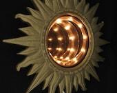 Vintage Infinity Sun Sunburst Wall Mirror Mid Century Modern Retro Groovy
