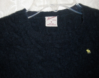 Vintage Abercrombie and Fitch Navy Wool Cropped Shrunken Sweater Treasure