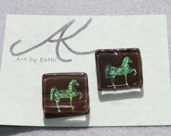 Dicro fused glass horse earrings