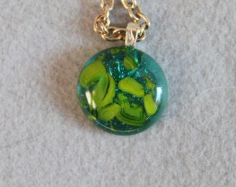 Green and yellow fused glass necklace