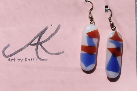 Fused glass patriotic earrings