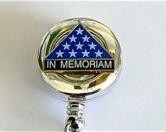 In Memoram ID retractable reel badge holder