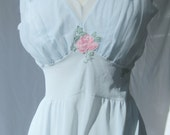 CLEARANCE Vintage Baby Blue Maxi Nightgown Size Medium