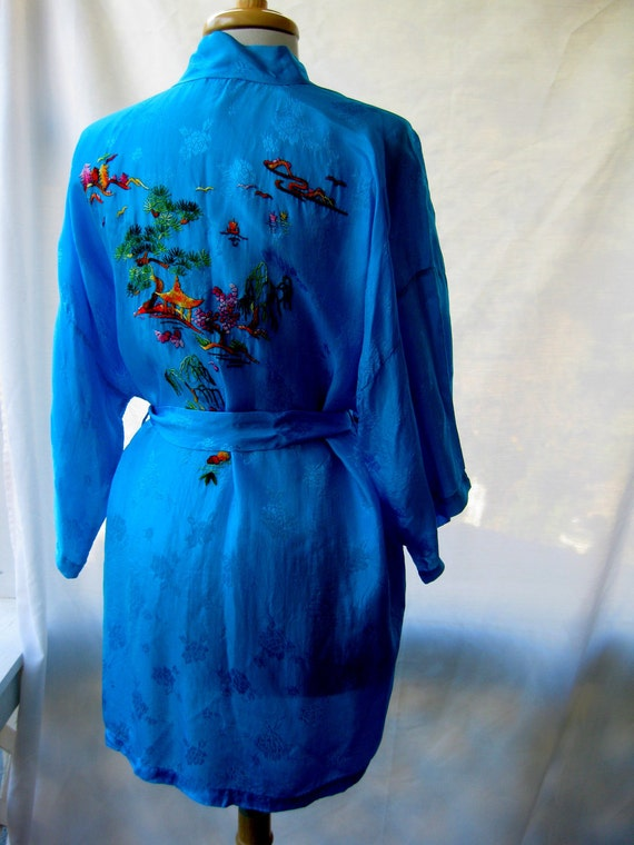 Vintage Blue Chinese Embroidered Robe - AS IS